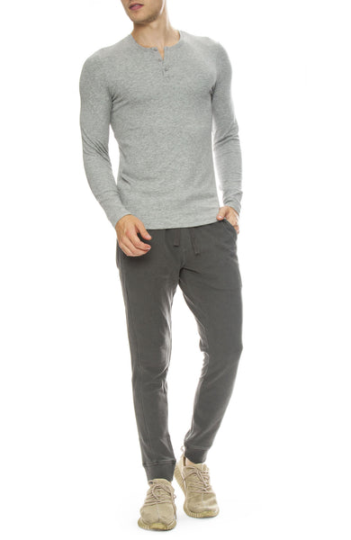 ATM ATM Mens Faded Pique Sweatpants with Modal Ribbed Henley in Heather Grey