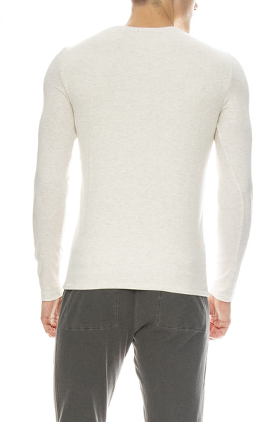 ATM Mens Modal Ribbed Henley in Heather Oatmeal