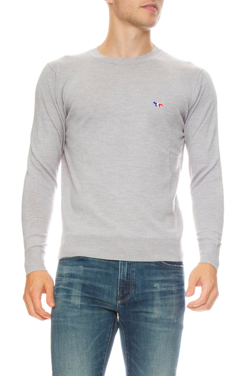 Maison Kitsune Virgin Wool Crew Neck Sweater in Grey Melange