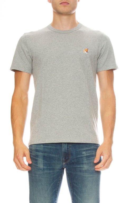 Maison Kitsune Fox Patch Crew Neck Tee in White in Grey Melange
