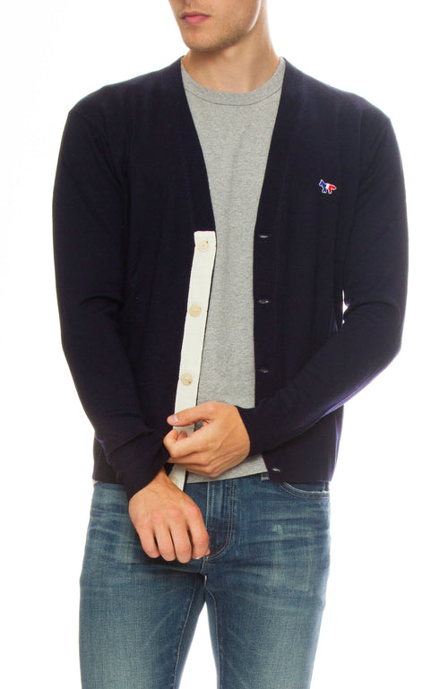Maison Kitsune Classic Virgin Wool Cardigan in Navy