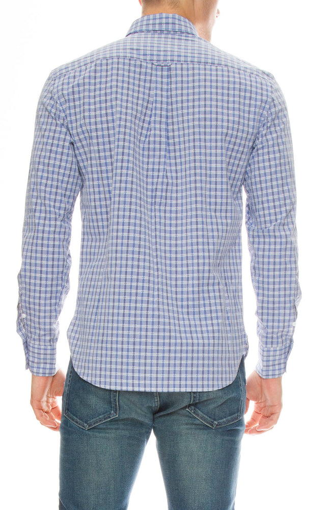 Maison Kitsune Classic Checker Shirt with Embroidered Fox in Blue Check
