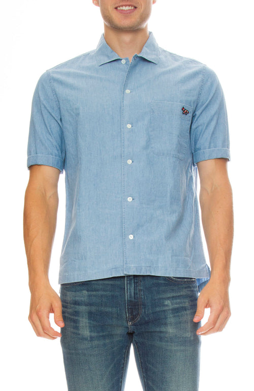 Maison Kitsune Short Sleeve Chambray Woven Shirt