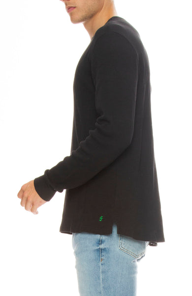 Frame Mens Waffle Knit Long Sleeve Crew Neck Tee in Faded Noir