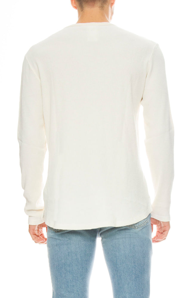 Frame Mens Waffle Knit Long Sleeve Crew Neck Tee in Off White