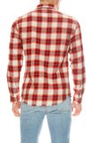 Frame Mens Plaid Fray Hem Work Shirt in Henna