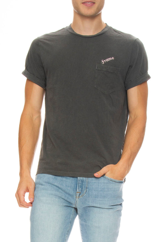 Frame Mens Short Sleeve Embroidered Logo Pocket Tee in Faded Noir