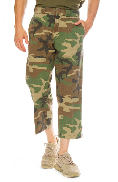 R13 Mens Camo Cropped Slouch Pant