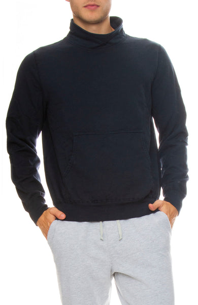 Save Khaki Supima Fleece Mock Neck Sweatshirt in Navy