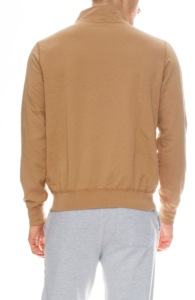 Save Khaki Supima Fleece Mock Neck Sweatshirt in Squash