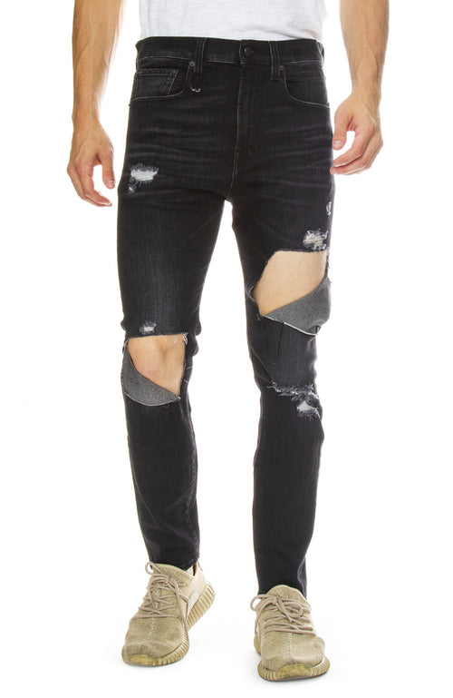 R13 Mens Drop Jean with Rips in Dark Moon