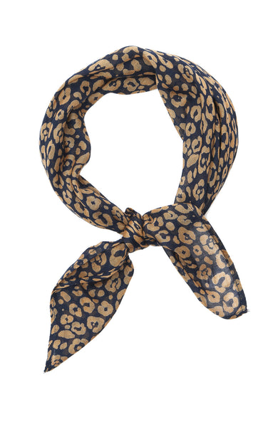 Chan Luu Leopard Print Neckerchief in Total Eclipse