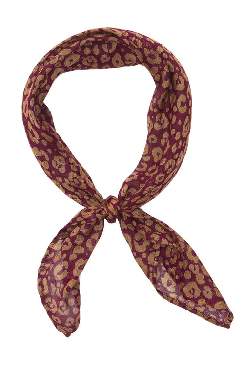 Chan Luu Leopard Print Neckerchief in Port / Sepia