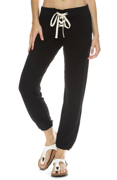 Monrow Super Soft Lace Up Sweatpants in Black