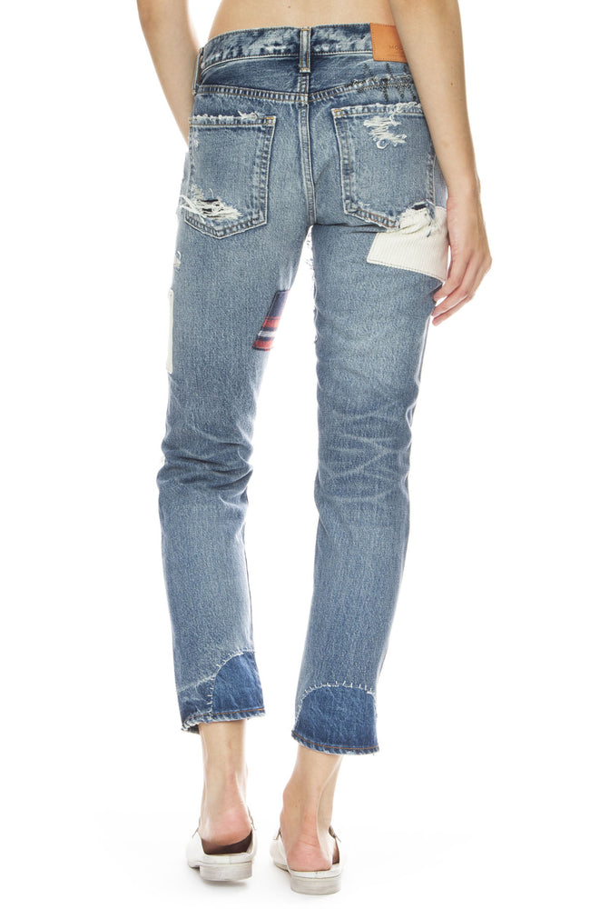 Moussy Vintage MV Patchwork Tapered Jean in Blue