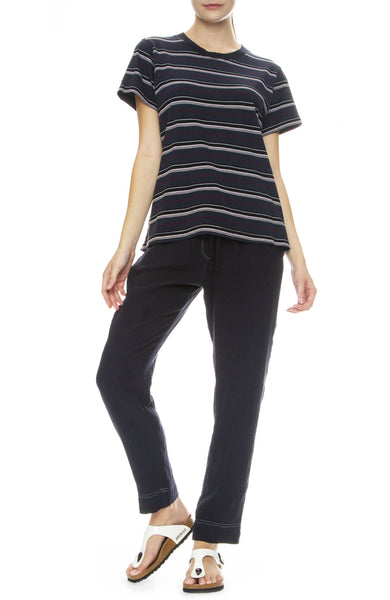 Xirena Jordyn Gauze Pants in Navy with Ivory Stitching with West Striped Tee