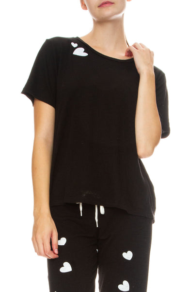 Monrow Heart Patch Tee in Black