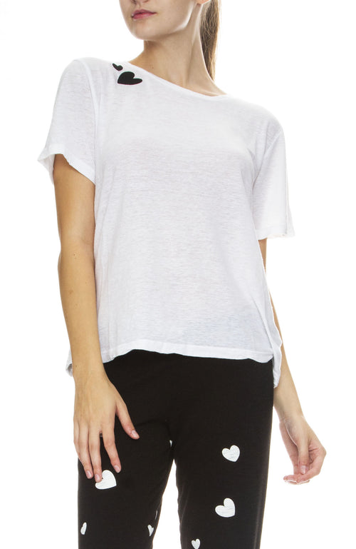 Monrow Heart Patch Tee in White