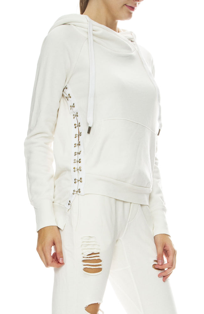 NSF Womens Mildred Side Hook Hoodie in Soft White