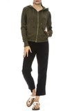 NSF Womens Chada Zip Splatter Hoodie in Drab with Bronte Karate Pants in Black