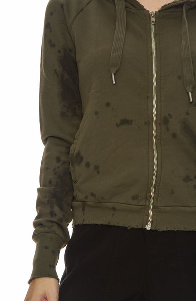 NSF Womens Chada Zip Splatter Hoodie in Drab