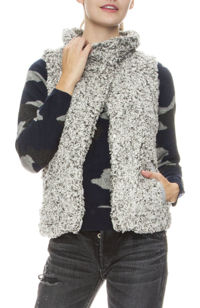 Dylan Funnel Neck Cozy Vest in Charcoal
