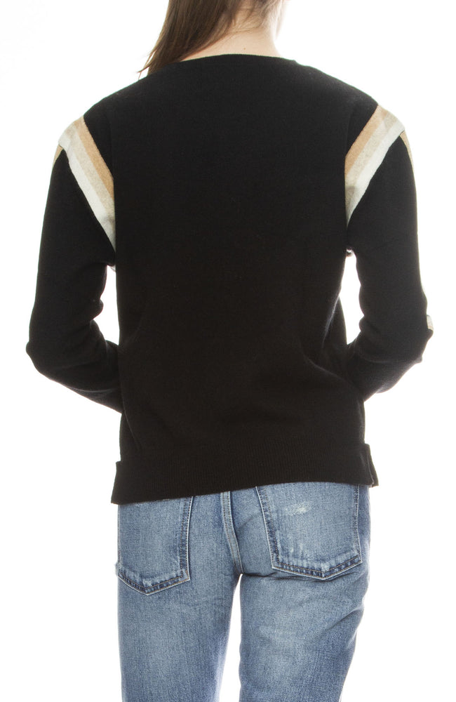 Jumper 1234 Stripe Cashmere Sweater in Black