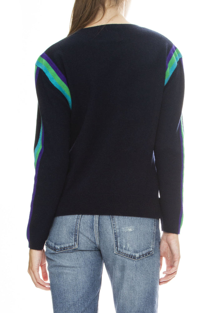 Jumper 1234 Neon Stripe Cashmere Sweater in Navy