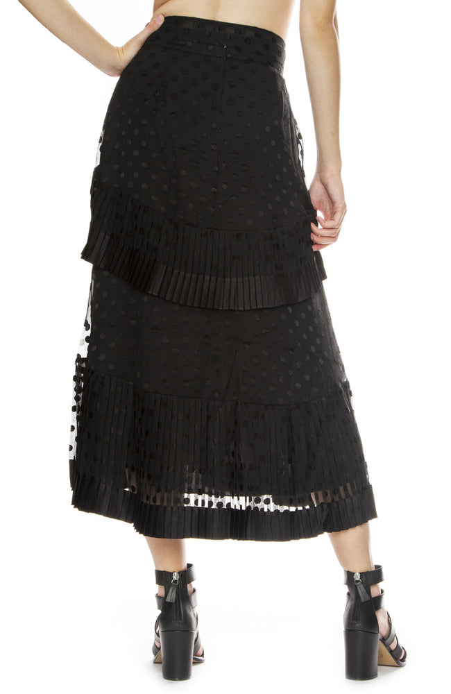 Zimmermann Pleated Tier Skirt in Black