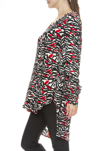 Adam Selman Off the Shoulder Tunic in Black, White & Red Tiger Print