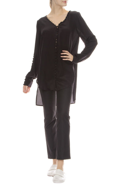 Adam Selman Off the Shoulder Tunic in Black with Sandy Pants