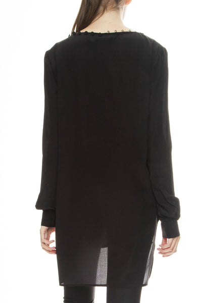 Adam Selman Off the Shoulder Tunic in Black