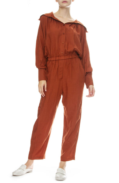 Black Crane Gathered Jumpsuit in Brick