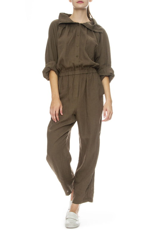 Black Crane Gathered Jumpsuit in Sand