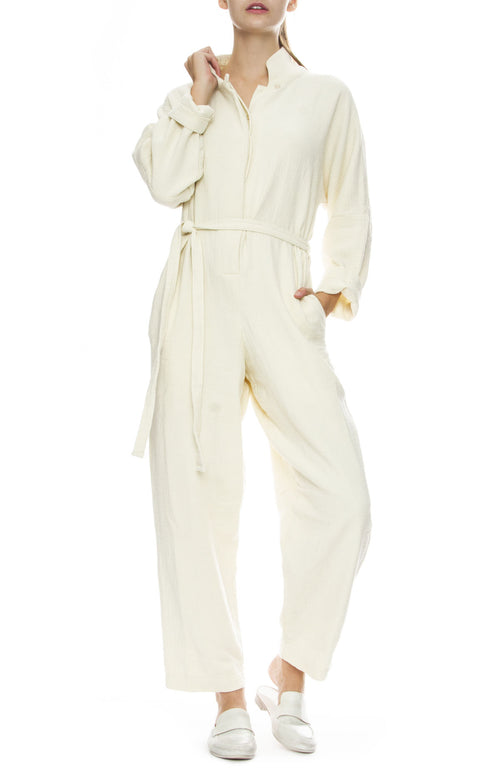 Black Crane High Neck Jumpsuit in Cream