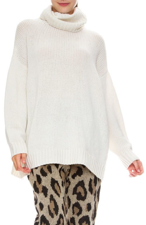 R13 Womens Boyfriend Cashmere Turtleneck Sweater