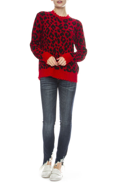 R13 Womens Distressed Red Leopard Cashmere Sweater with Kate Angled Fray Skinny Jeans