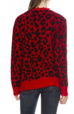 R13 Womens Distressed Red Leopard Cashmere Sweater
