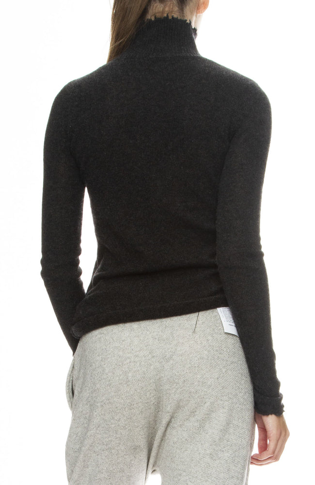 R13 Womens Distressed Cashmere Skinny Turtleneck