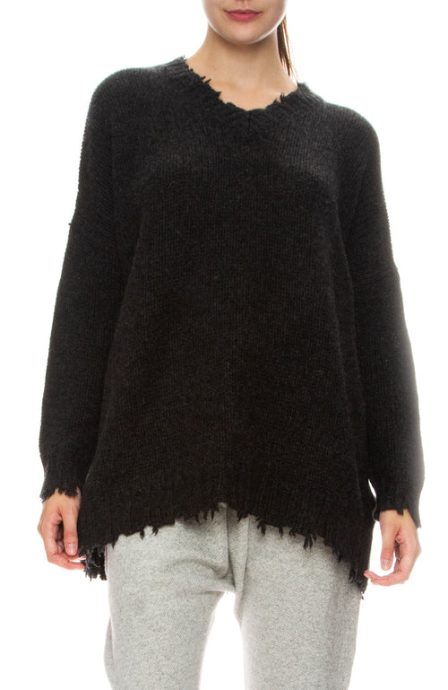 R13 Womens Distressed V-Neck Boyfriend Cashmere Sweater