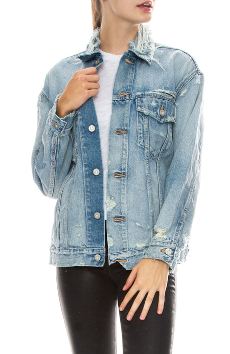 Mettler Distressed Denim Trucker Jacket