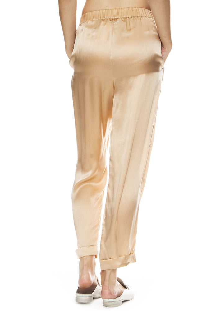 Mes Demoiselles Fester Silk Jogger Pants in Powder