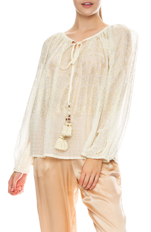 Mes Demoiselles Byblos Metallic Tunic Blouse
