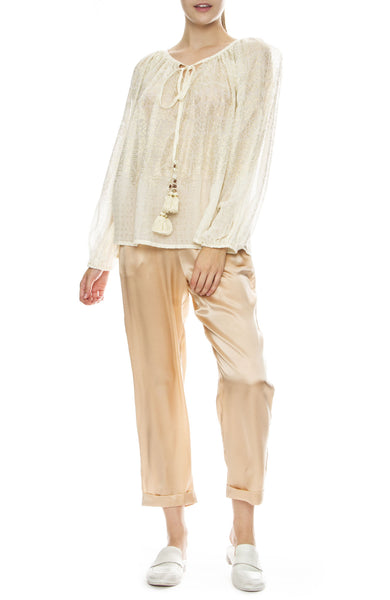 Mes Demoiselles Fester Silk Jogger Pants in Powder with Byblos Metallic Blouse