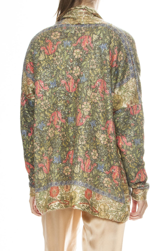 Mes Demoiselles Equatuer Sequin Floral Wrap Sweater