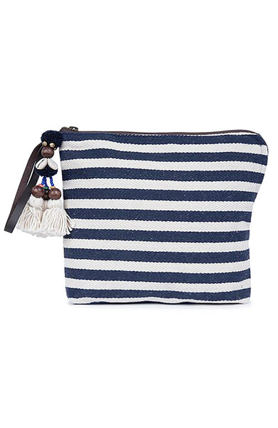 Jade Tribe Valerie Zip Clutch and Indigo and White Stripes