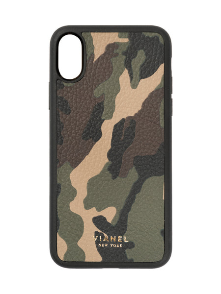 iPhone X and Xs Leather Camouflage Case