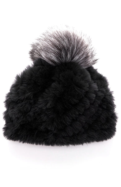 Faux Fur Hat with Pom Pom
