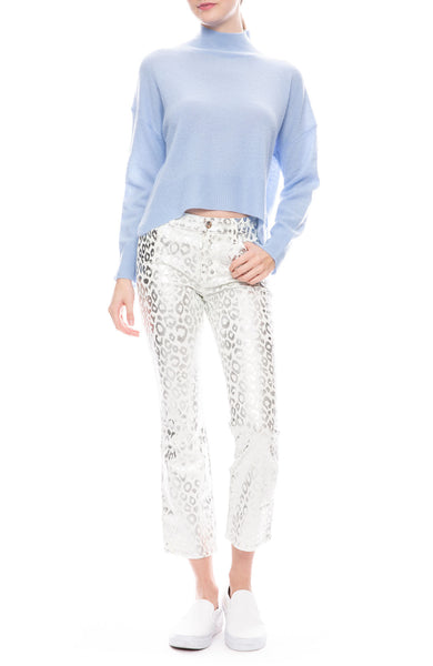 Selena Mid Rise Crop in Snow Leopard
