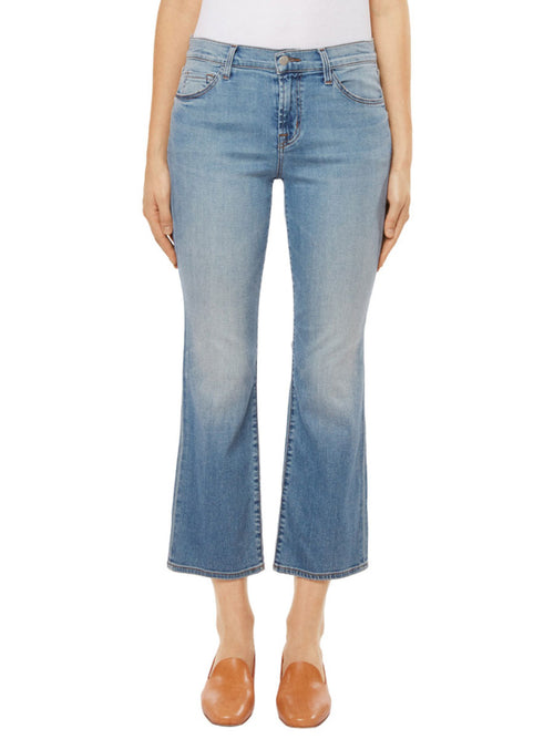 Selena Mid-Rise Cropped Boot Cut Jean in Balearic